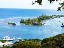 令人惊讶的风景,橡树岭点,罗阿坦岛 库存图片