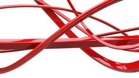 令人敬畏的红色摘要漩涡和丝带 库存例证