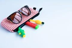 以一个仙人掌、西瓜、菠萝在笔匣和太阳镜的形式明亮的文具笔在蓝色背景 backarrow 免版税库存图片
