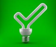 以一个好的复选标记的形式电灯泡 免版税图库摄影