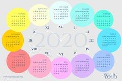 以一个时钟的形式日历2020年与几个月 库存例证