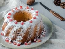 以一个花圈的形式圣诞节蛋糕与在白色板材选择聚焦的搽粉的糖和石榴种子 库存图片