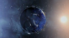 以一个行星的形式足球在空间,地图和纹理由美国航空航天局提供了, 股票录像
