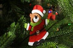 以一头熊的形式圣诞装饰在圣诞老人项目衣服  图库摄影