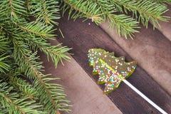 以一棵圣诞树的形式糖果在与冷杉分支的木背景  免版税图库摄影