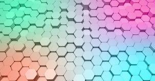 以六角形形状的形式抽象3d背景动画在改变的运动的明亮的颜色 股票视频