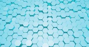 以六角形形状的形式抽象3d背景动画在明亮的颜色 股票录像