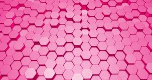 以六角形形状的形式抽象3d背景动画在明亮的颜色 影视素材