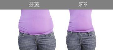以前妇女腹部在减肥,形状体育健康节食以后 免版税图库摄影