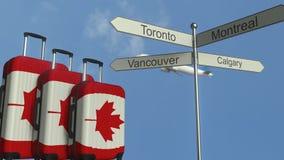 以加拿大、飞机和城市路标加拿大旅游业概念性动画为特色的旗子旅行行李 皇族释放例证