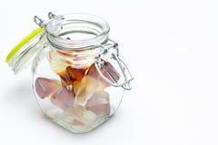 以可乐瓶的形式软心豆粒糖 库存照片