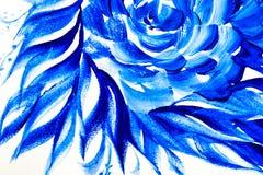 以叶子蓝色油漆的形式抽象图画刷子 免版税图库摄影