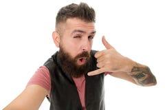 以后告诉我 有长的胡子标志交谈的行家 o 移动通信 人有胡子的行家 免版税图库摄影