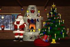 以后的家庭圣诞老人 免版税库存图片