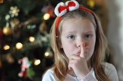 以后的s圣诞老人shhh 免版税图库摄影