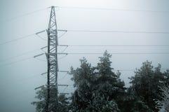 以后站立在与被冰的树的灰色天空背景的高压传输塔的被定调子的冬天照片 库存图片