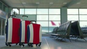 以哥斯达黎加的旗子为特色的旅行手提箱 旅游业概念性动画 股票视频