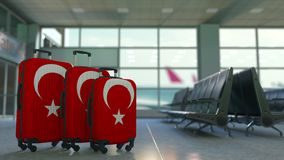 以土耳其的旗子为特色的旅行手提箱 土耳其旅游业概念性动画 股票视频
