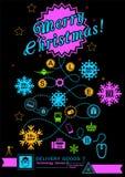 以圣诞树的形式路 在黑背景的明亮的霓虹圣诞节后勤学象 技术 库存例证