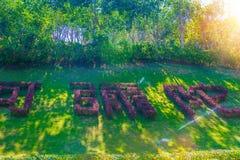 以在公园南山佛教的象形文字的形式被计划了ctov的花圃  库存图片