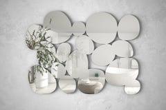 以垂悬在墙壁上的小卵石的形式现代镜子反射室内设计场面,有橄榄树的, minim明亮的卫生间 库存照片