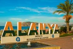 以城市为目的阿拉尼亚风景城市的名字的信件 阿拉尼亚,安塔利亚区,土耳其,亚洲 免版税库存图片