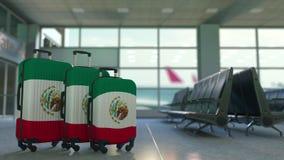 以墨西哥的旗子为特色的旅行手提箱 墨西哥旅游业概念性动画 股票视频