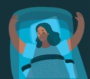 以妇女为特色的例证害怕恶梦 向量例证