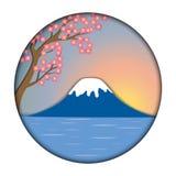 以富士山为背景的佐仓花 向量例证