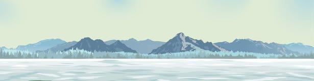 以山为背景的白色沼地 图库摄影