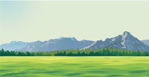 以山为背景的绿色沼地 皇族释放例证