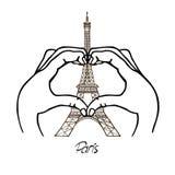 以心脏和艾菲尔铁塔的形式手 皇族释放例证