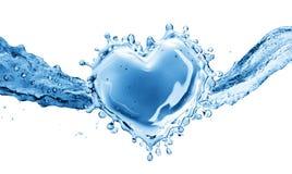 以心脏的形式水飞溅 库存照片