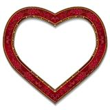 以心脏红宝石颜色的形式框架与阴影 图库摄影