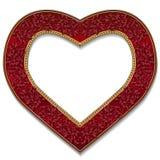 以心脏红宝石颜色的形式框架与阴影 免版税库存照片
