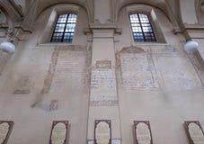 以撒会堂在卡济梅尔兹,历史的犹太处所的内墙克拉科夫,波兰 库存图片
