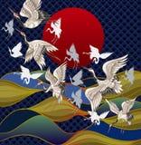 以日落和海为背景的日本起重机 打印的日本传统绘画 向量例证