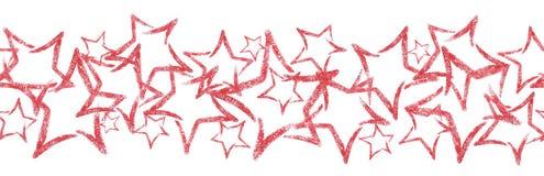 以星的形式疏散衣服饰物之小金属片 与红色闪烁星的无缝的边界 免版税图库摄影