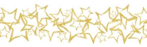 以星的形式疏散衣服饰物之小金属片 与金子闪烁星的无缝的边界 图库摄影