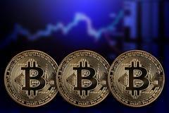 以显示器为背景的三枚硬币Bitcoin 库存图片