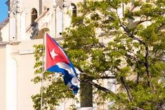 以树为背景的旗子,哈瓦那,古巴 免版税库存照片