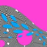 以波浪的形式蓝色瓣,在whitestiped,桃红色背景的圈子 平的位置 库存图片