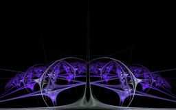 以淡紫色花的形式分数维的抽象样式在黑背景的 库存图片