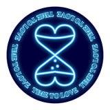 以滴漏的形式两心脏在圆的背景 设计为华伦泰` s天 霓虹焕发被描述 皇族释放例证