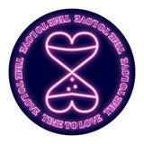 以滴漏的形式两心脏在圆的背景 设计为华伦泰` s天 霓虹焕发被描述 向量例证