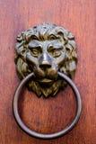 以狮子` s头的形式古色古香的黄铜通道门环 与金属狮子的门元素 免版税库存图片