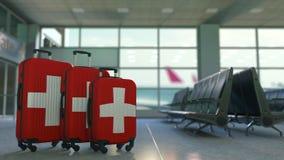 以瑞士的旗子为特色的旅行手提箱 加拿大旅游业概念性动画 股票录像