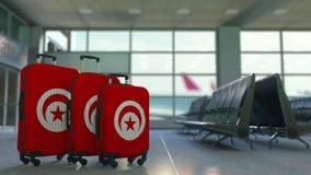 以突尼斯的旗子为特色的旅行手提箱 突尼斯旅游业概念性动画 影视素材