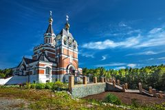 以纪念俄罗斯的新的受难者和忏悔者的教会 的treadled 图库摄影