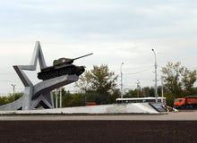 以纪念形成的纪念碑在利佩茨克州在春天的1942第一个坦克军团 免版税图库摄影